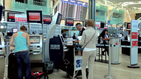 People Printing Out Boarding Card At Air Canada Co stock footage