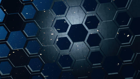 Metal Hexagon Wall with Sparks Animation