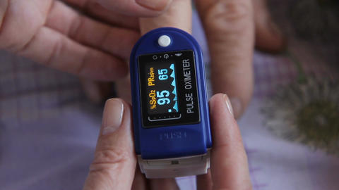Pulse Measurement - Pulse Oximetry stock footage