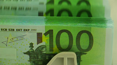 Counting EURO Closeup stock footage