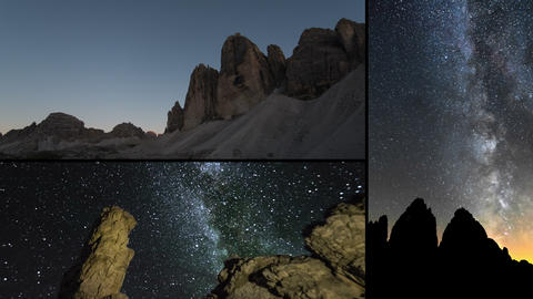 4k UHD dolomite night milky way time lapse montage Footage