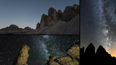 4k UHD Dolomite Night Milky Way Time Lapse Montage stock footage