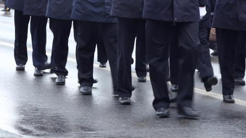 Blue Uniform Officers Walking Footage