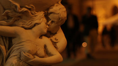 Couple Sculpture and Night People Footage