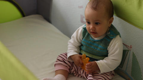 Cute Baby Sitting Up stock footage