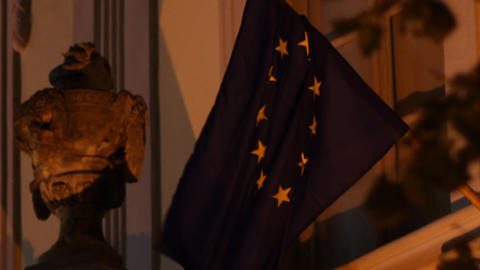 EU Nighttime Flag stock footage