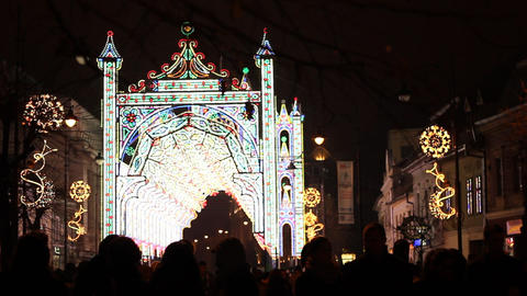 Fairy Lights Castle on Street Footage