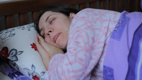 Girl Sleeps In Bed stock footage