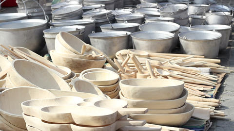 Handmade Wood Pots Footage