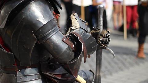 Knight In Steel Armor stock footage