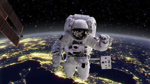 Astronaut in space with Earth, Europe behind Footage