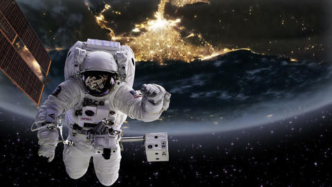 Astronaut in space with Earth, Egypt Nile and delt Footage