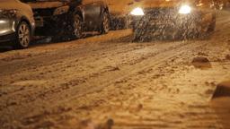 Night Road Snow Blade Footage