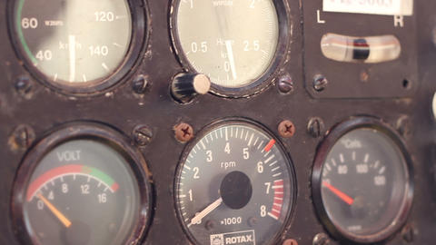 Rusty Plane Knobs And Dials stock footage