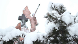 Snowy Church Cross Footage