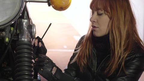 Mechanic Girl Woman Fixing Repairing Motorcycle Bi Footage