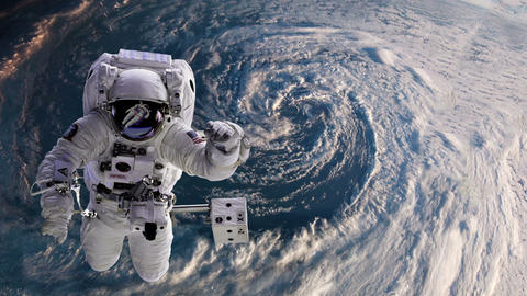 Astronaut in space with Earth, hurricane behind Animation