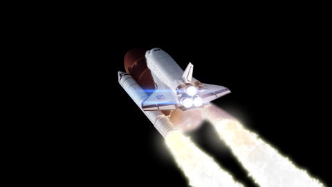 Space shuttle launch loopable with alpha transpare Stock Video Footage