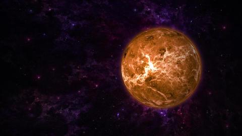 Planet Venus on Stars Background Animation