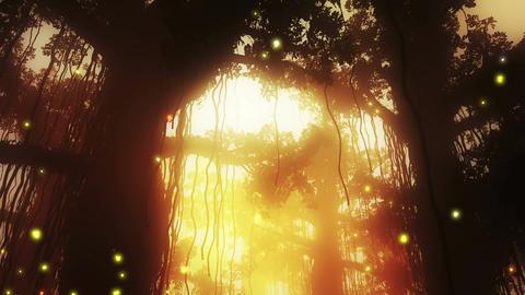 4 K Mysterious Deep Jungle Fireflies in Water 2 Stock Video Footage