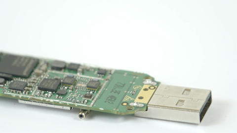 A USB chip with small chipset on it Stock Video Footage