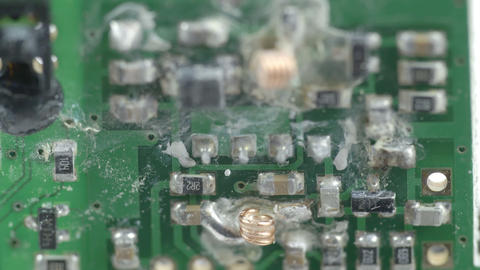 The messy look of the micro chips of a battery Stock Video Footage