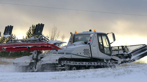 A big snow flatter transportation Footage