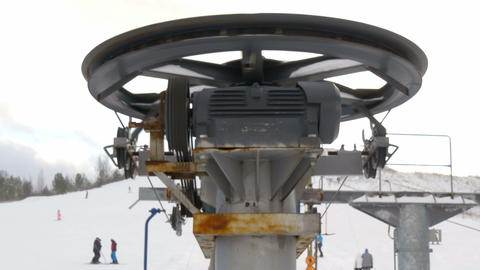 The rollers of the ski resort ski lift Stock Video Footage