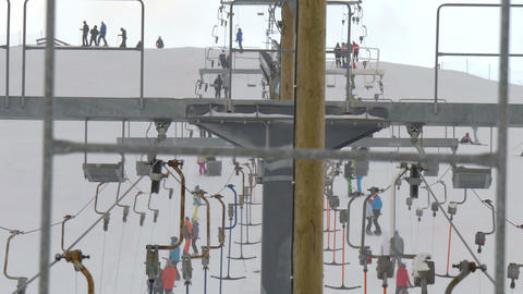 3460 The top view of the ski lift of the resort Stock Video Footage