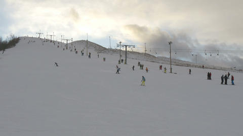 Tourists are riding the ski on the ski resort Footage