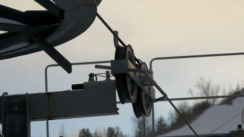The rollers and pulleys of the mechanical ski lift Stock Video Footage