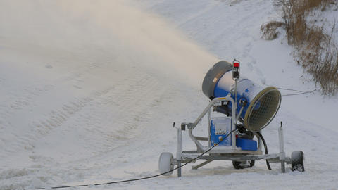 A blue snow blower on the resort Stock Video Footage