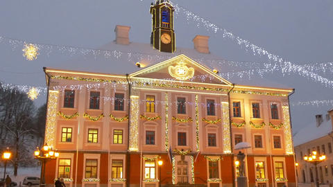 The town hall of Estonia with lights Footage
