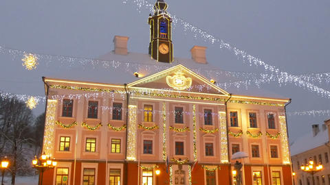 The town hall of Estonia with lights Stock Video Footage
