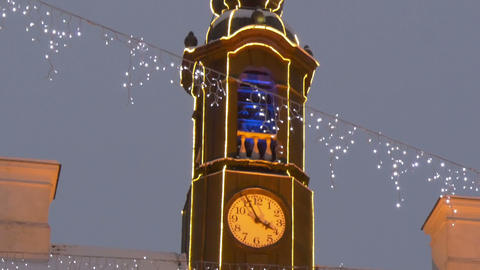 The tower clock of the town hall with lights Stock Video Footage