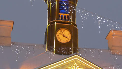 The tower clock of the town hall with lights Footage