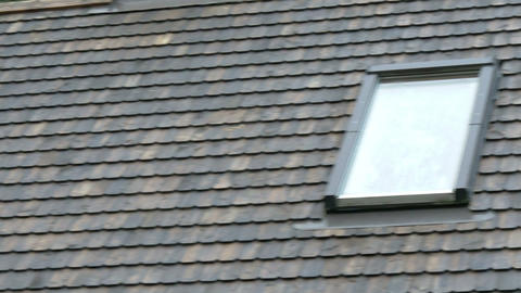The wooden shingles of the rooftop with window Stock Video Footage