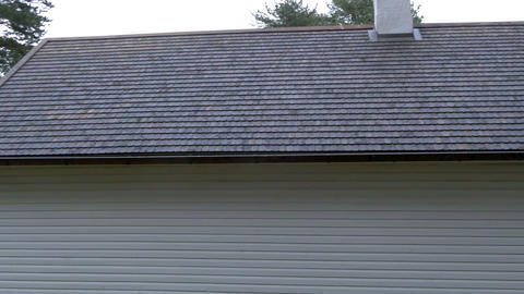 The newly built house with a shingle roof Stock Video Footage