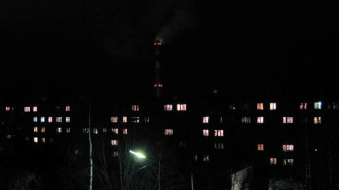 Residental houses an night, time lapse Footage