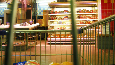 Shoping cart in supermarket time lapse Stock Video Footage