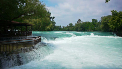 Manavgat waterfall near Side in Turkey Footage