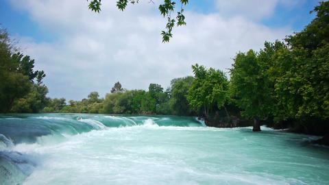 Manavgat waterfall near Side in Turkey Footage