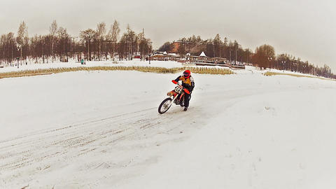 Motorcross Riders Training On Ice stock footage