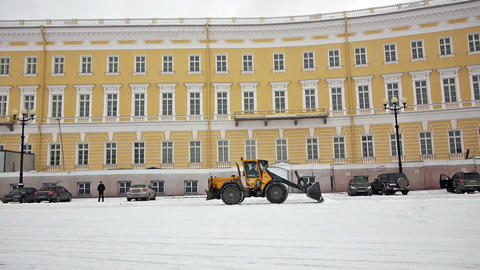 Cleaning Dvortsovaya Square From Snow, St. Petersb stock footage