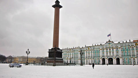 Alexander Column on Dvortsovaya square, St. Peters Footage