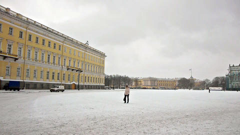 Tourists walking on Dvortsovaya square, St. Peters Stock Video Footage