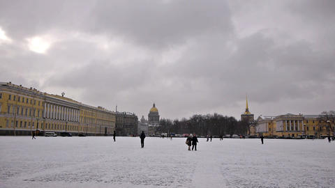Tourists walking on Dvortsovaya square, St. Peters Footage