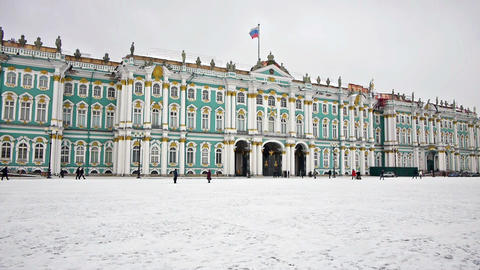 Hermitage museum on Dvortsovaya square, St. Peters Stock Video Footage