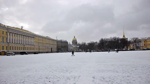 Tourists walking on Dvortsovaya square, St. Peters Stock Video Footage