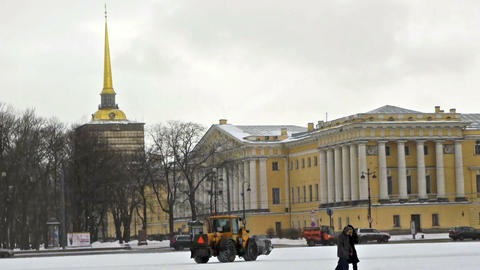 Admiralty, view from Dvortsovaya square, St. Peter Stock Video Footage